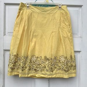 Ann Taylor Floral Embroidered Lined Yellow Skirt 8